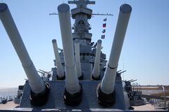 Huge Guns. USS Alabama battleship memorial in Mobile Alabama, big guns up Stock Images