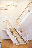 Huge hall with stairs. Designers interior huge hall with stairs chandelier and hardwood floors Royalty Free Stock Photography