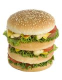 Huge hamburger. Huge tasty burger - front/up view Royalty Free Stock Photo