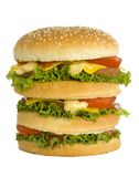 Huge hamburger. Front view Royalty Free Stock Photo
