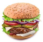 Huge hamburger. Perfect shot of burger`s layers. File contains clipping path.  stock photos