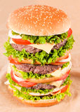 Huge hamburger. Shoot from above Royalty Free Stock Image
