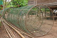 Huge handmade fish traps made of bamboo and green net Royalty Free Stock Image