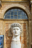 Huge head of young male sculptured in marble stone. Royalty Free Stock Image