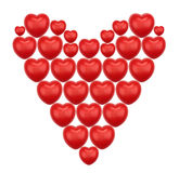 Huge heart made of smaller hearts. Huge heart made of smaller red hearts Stock Image