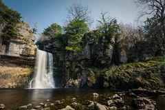 Huge Heavily Flowing Waterfall In Yorkshire Dales, UK. Royalty Free Stock Photography