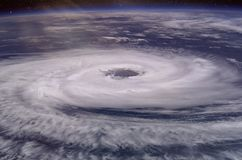 Huge hurricane eye. Elements of this image furnished by NASA. 2018 stock photography
