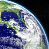 Huge Hurricane Matthew. Disastrous hurricane Matthew in Caribbean. 3D illustration. Elements of this image furnished by NASA Stock Images
