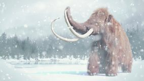 Woolly mammoth, prehistoric mammal in snowy ice age landscape. Huge ice age animal in frozen wilderness royalty free illustration