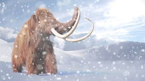 Woolly mammoth, prehistoric mammal in snowy ice age landscape 3d illustration. Huge ice age animal in frozen wilderness stock illustration
