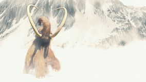 Woolly mammoth in a snow storm, prehistoric mammal in ice age landscape. Huge ice age animal in frozen wilderness vector illustration
