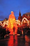 Huge ice figure of a woman in Moscow. The Maslenitsa doll Royalty Free Stock Images
