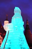Huge ice figure of a woman in Moscow. The Maslenitsa doll Stock Images