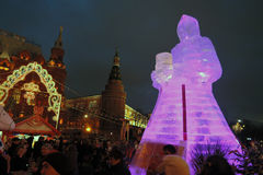 Huge ice figure of a woman in Moscow. The Maslenitsa doll Stock Photos