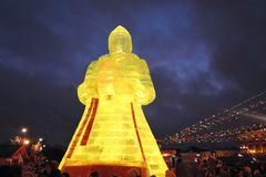 Huge ice figure of a woman in Moscow. The Maslenitsa doll Stock Photography