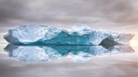 Huge iceberg float in open ocean, sway on water stock video