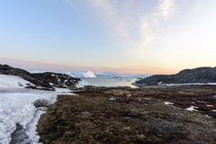 Huge icebergs on arctic ocean in Greenland Stock Photos