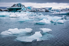 Huge icebergs floating on the lake, Iceland Stock Photo