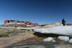 Huge icebergs in Ilulissat city of the Greenland. May 2016 Royalty Free Stock Image