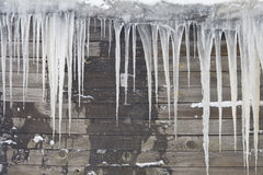 Huge icicles hang from the roof of the old house. On the roof of the old house hanging huge sharp icicles. Wall House made of wooden planks, a little wet. Walk stock image