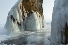 Huge icicles on rocks. Stock Photography