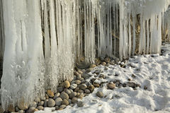 Huge icicles on rocks. Stock Images