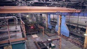 Huge Industrial factory inside. Robotic machines works. stock video footage