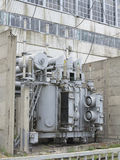 Huge industrial high-voltage substation power transformer on rai Royalty Free Stock Image