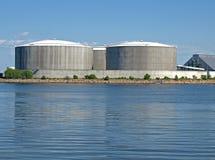 Huge industrial tanks stock images