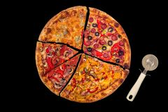Huge international pizza on red background. Delivery 24 hours. Concept Royalty Free Stock Images