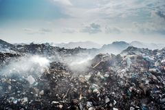 Huge junk yard landscape full of litter, plastic bottles and other trash at the Thilafushi island. In Maldives Royalty Free Stock Photo