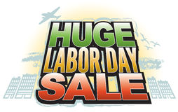 Huge Labor Day Sale. Announce that Huge Labor Day Sale with this fun, retro-modern logo type design, useful in a variety of applications: banner, magazine splash Stock Photo