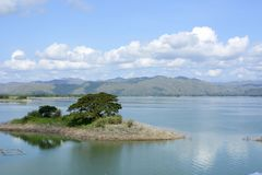 Huge lake formed due to Magat Hydro Electric Dam construction, placing towns underwater Stock Images