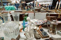 Huge lea market and many old art, bargains and antique sculptures in mess of vintage decor and retro details Stock Photos