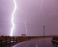 Huge Lightning Bolt Strike Storm Chaser Gulf of Mexico Stock Photos