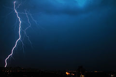 Huge lightning over night Minsk city in Belarus Royalty Free Stock Photography