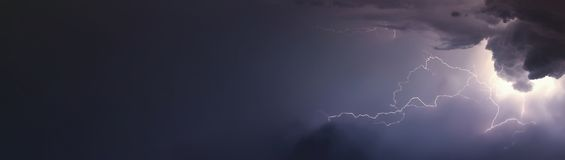 Huge lightnings and thunder during heavy summer storm. Royalty Free Stock Photos