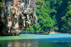 Huge limestone cliff in the Phang Nga bay, Thailand Stock Photos