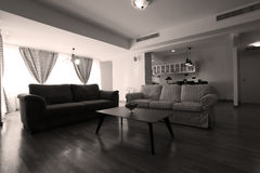 Huge living room with open kitchen. Modern living room with new couches and table stock images