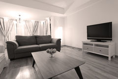 Huge livingroom. Modern living room with new couches and TV, apples on the table royalty free stock photos