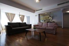Huge livingroom with open kitchen Stock Image