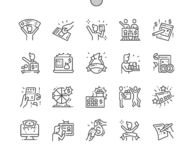 Huge lottery win Well-crafted Pixel Perfect Vector Thin Line Icons. 30 2x Grid for Web Graphics and Apps. Simple Minimal Pictogram stock illustration
