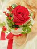 Huge with Love. Teddy Bear Hold a Red Rose Bouquet Royalty Free Stock Photo
