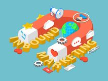 Inbound marketing flat isometric vector concept. Royalty Free Stock Photo