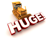 Huge. Or mammoth concept,  word being pushed by a bulldozer, white background vector illustration