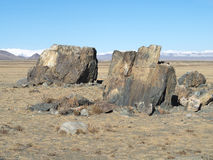 Huge megalith stones on a sacred place in steppe. Royalty Free Stock Photos