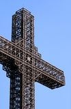 Huge metal cross. The biggest cross on Vodno, Skopje, Macedonia stock images