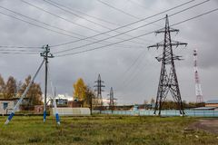 High voltage power line. Huge metal rack of high voltage power lines Royalty Free Stock Images