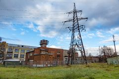 High voltage power line. Huge metal rack of high voltage power lines Royalty Free Stock Photo