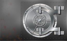 A huge metal round safe door. Reliable saving of secrets and passwords. Stock Photo